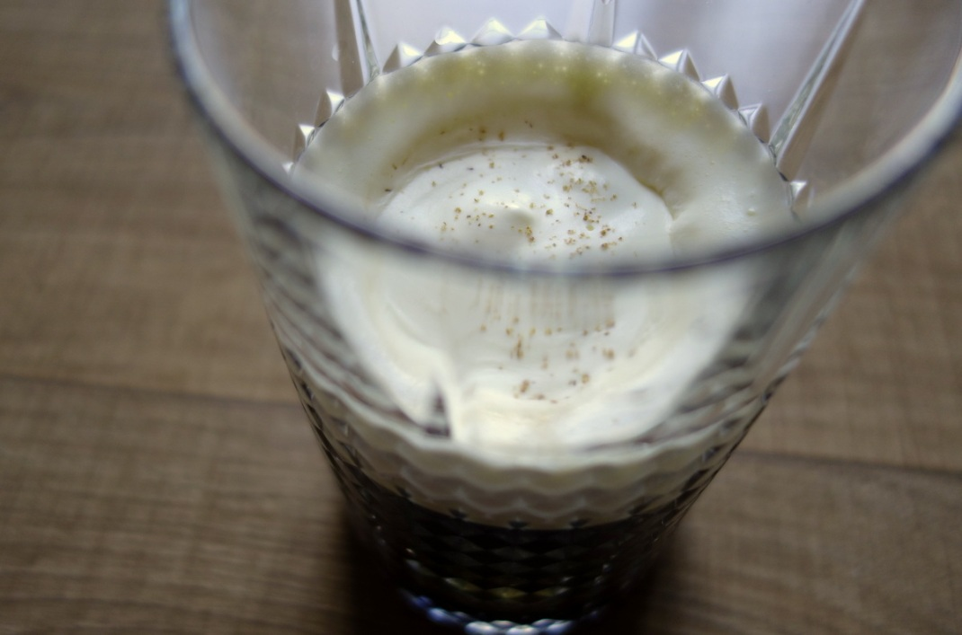 Irish coffee with nutmeg